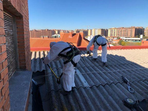 Retirada de amianto en edifico de Madrid